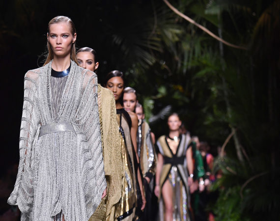 PARIS, FRANCE - SEPTEMBER 29:  Models walk the runway during the Balmain show as part of the Paris Fashion Week Womenswear Spring/Summer 2017  on September 29, 2016 in Paris, France.  (Photo by Pascal Le Segretain/Getty Images)