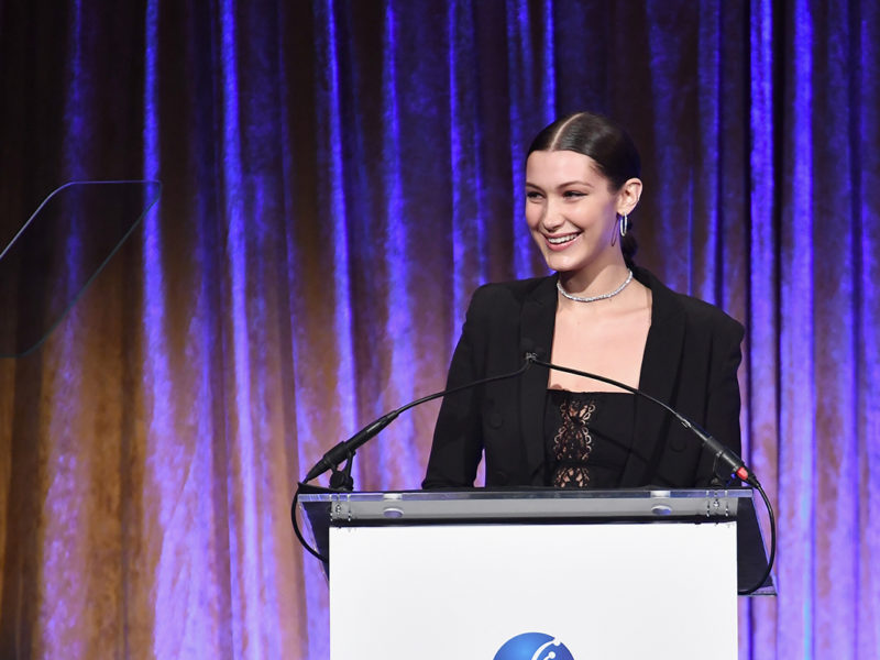 """NEW YORK, NY - OCTOBER 13:  Honoree Bella Hadid speaks onstage during Global Lyme Alliance's second annual """"United For A Lyme-Free World"""" gala on October 13, 2016 in New York City.  (Photo by Dimitrios Kambouris/Getty Images for Global Lyme Alliance)"""