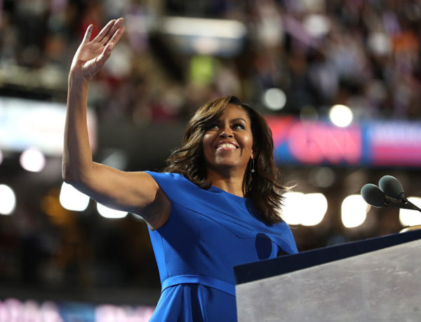 PHILADELPHIA, PA - JULY 25:  First lady Michelle Obama acknowledges the crowd after delivering remarks on the first day of the Democratic National Convention at the Wells Fargo Center, July 25, 2016 in Philadelphia, Pennsylvania. An estimated 50,000 people are expected in Philadelphia, including hundreds of protesters and members of the media. The four-day Democratic National Convention kicked off July 25.  (Photo by Joe Raedle/Getty Images)