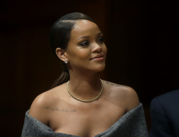 Singer Rihanna is seated on stage during 2017 Harvard University Humanitarian of the Year Award ceremonies before being presented with the award at the school, Tuesday, Feb. 28, 2017, in Cambridge, Mass. (AP Photo/Steven Senne)