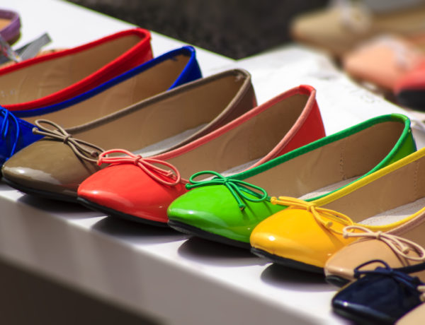 Ballet flat shoes of different colores exposed for sale